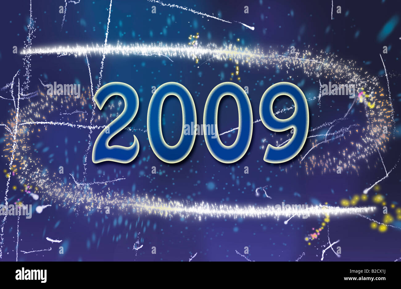 Blue Greeting Card for 2009 year - Stock Image