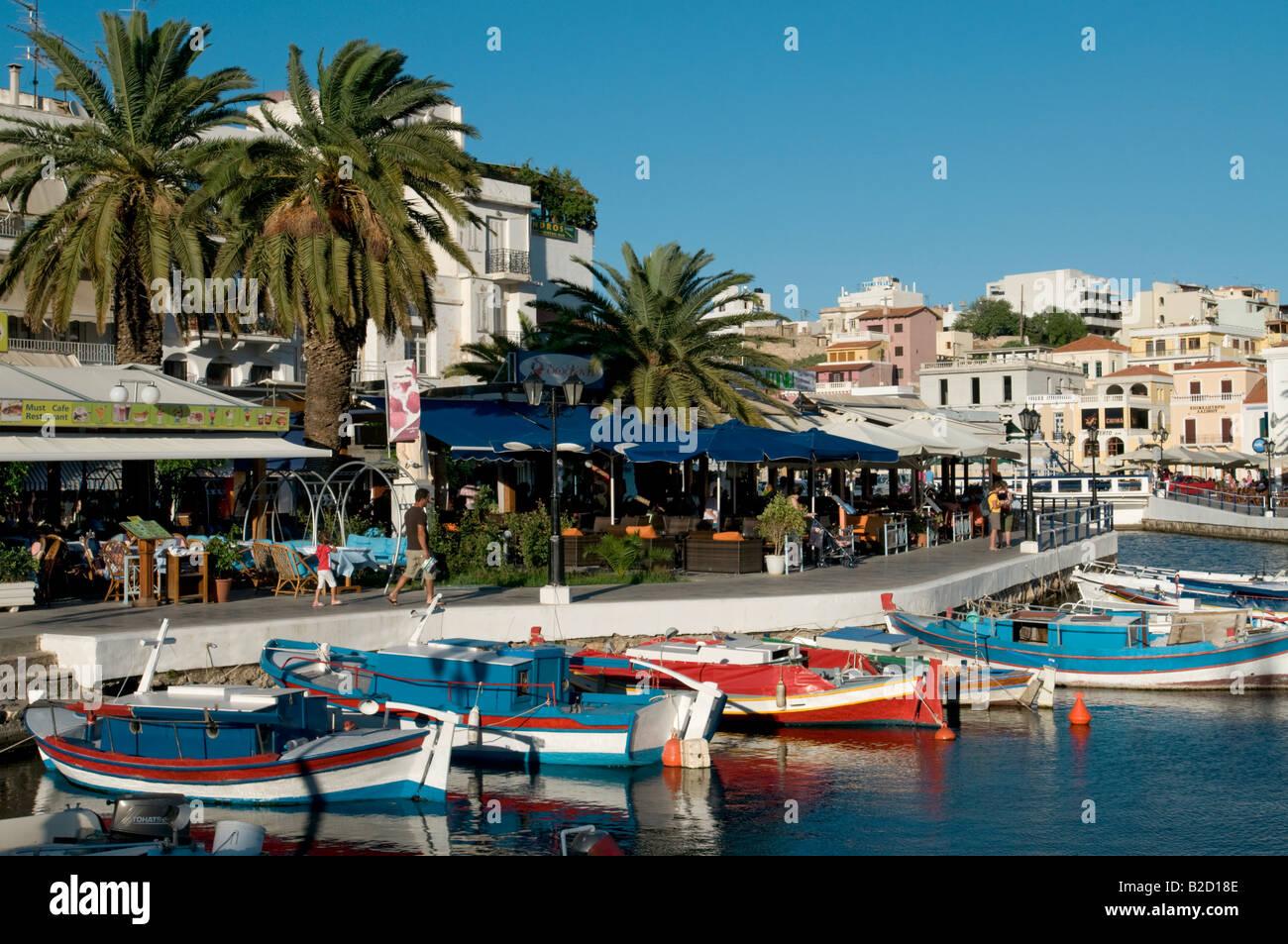 Agios Nikolaos Harbour,Crete.Greece - Stock Image
