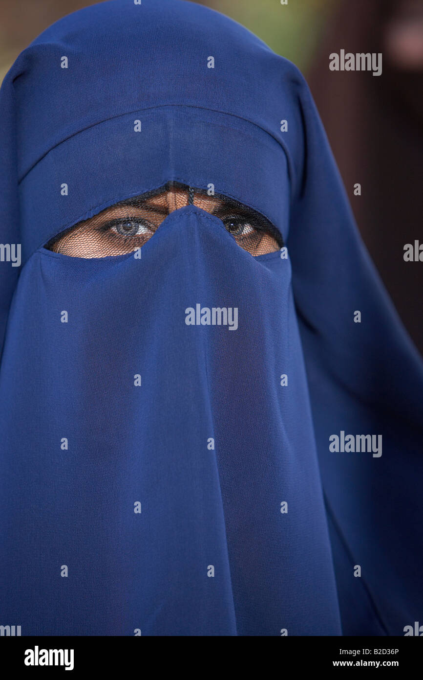 Portrait of muslim woman wearing niqab - Stock Image