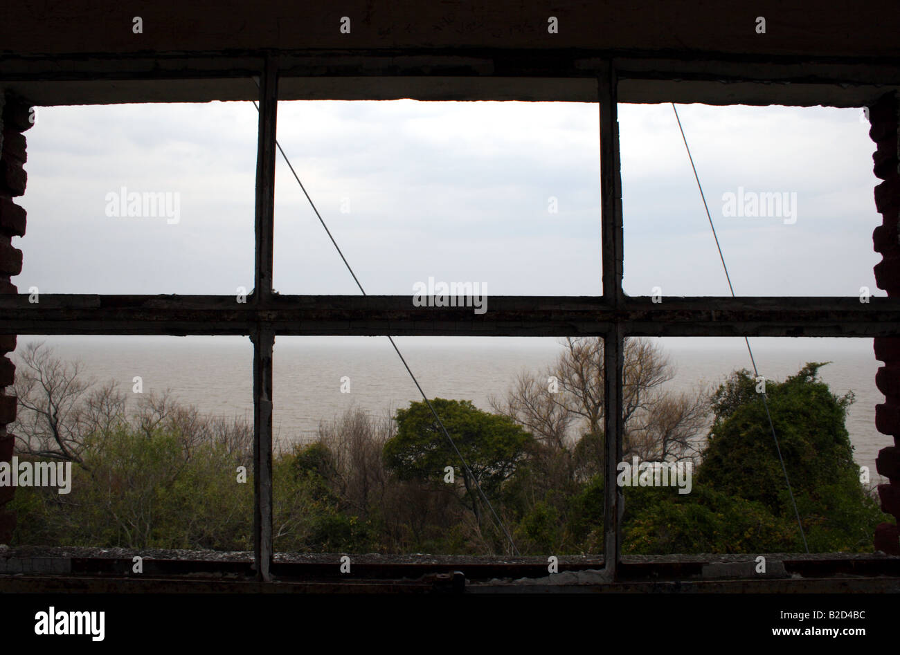 Window in abandoned tower 4 Stock Photo