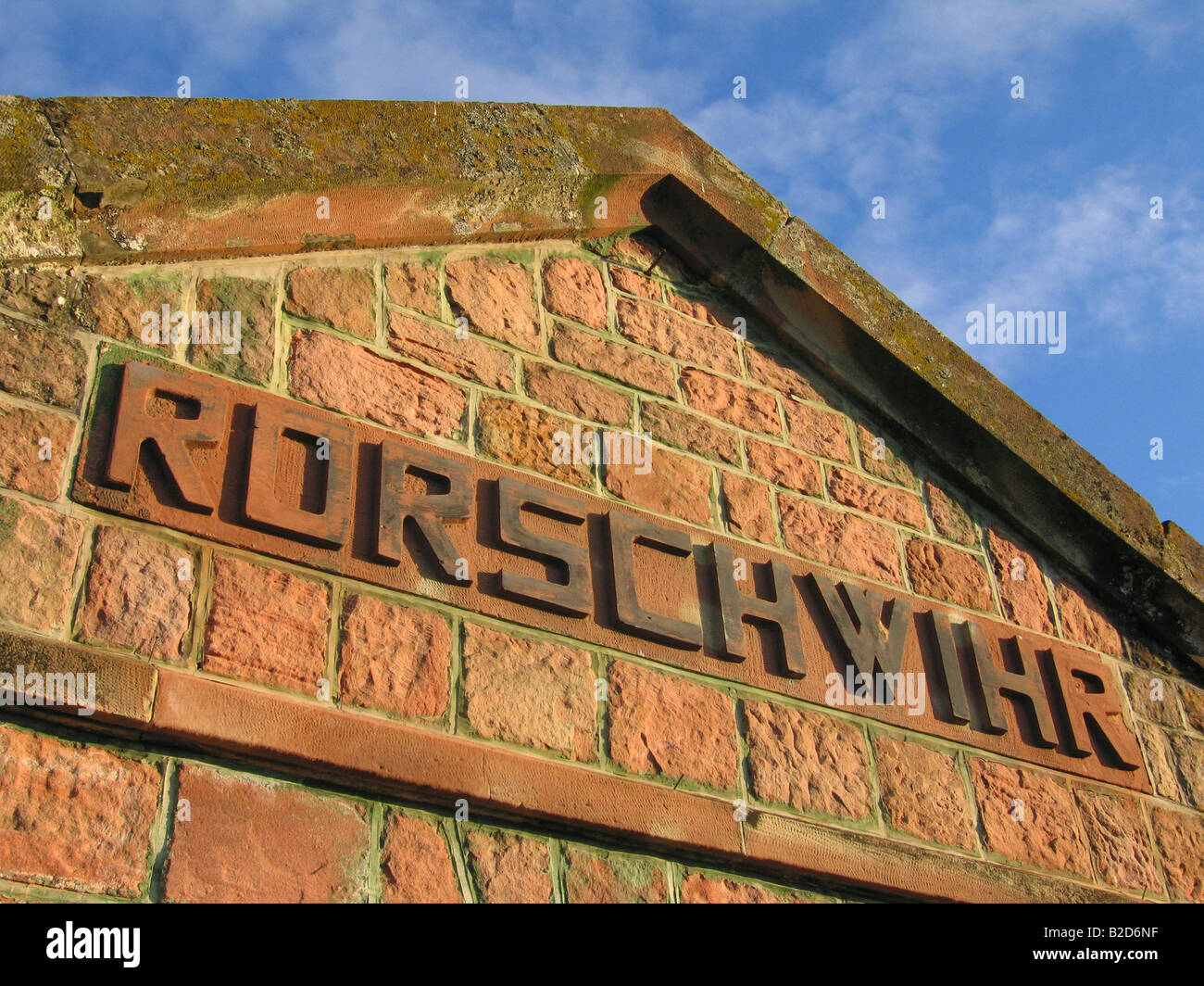 pediment into an alsatian vineyard - wine road - Rorschwihr - Alsace - France - Stock Image