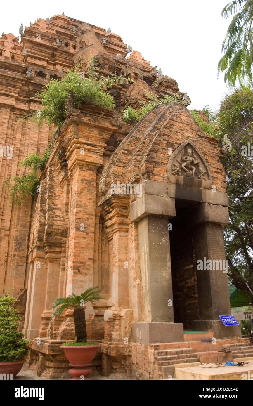 The front of a Po Nagar Tower at Nha Trang in Vietnam. The Po Nagar Towers are ancient Hindu temples. - Stock Image