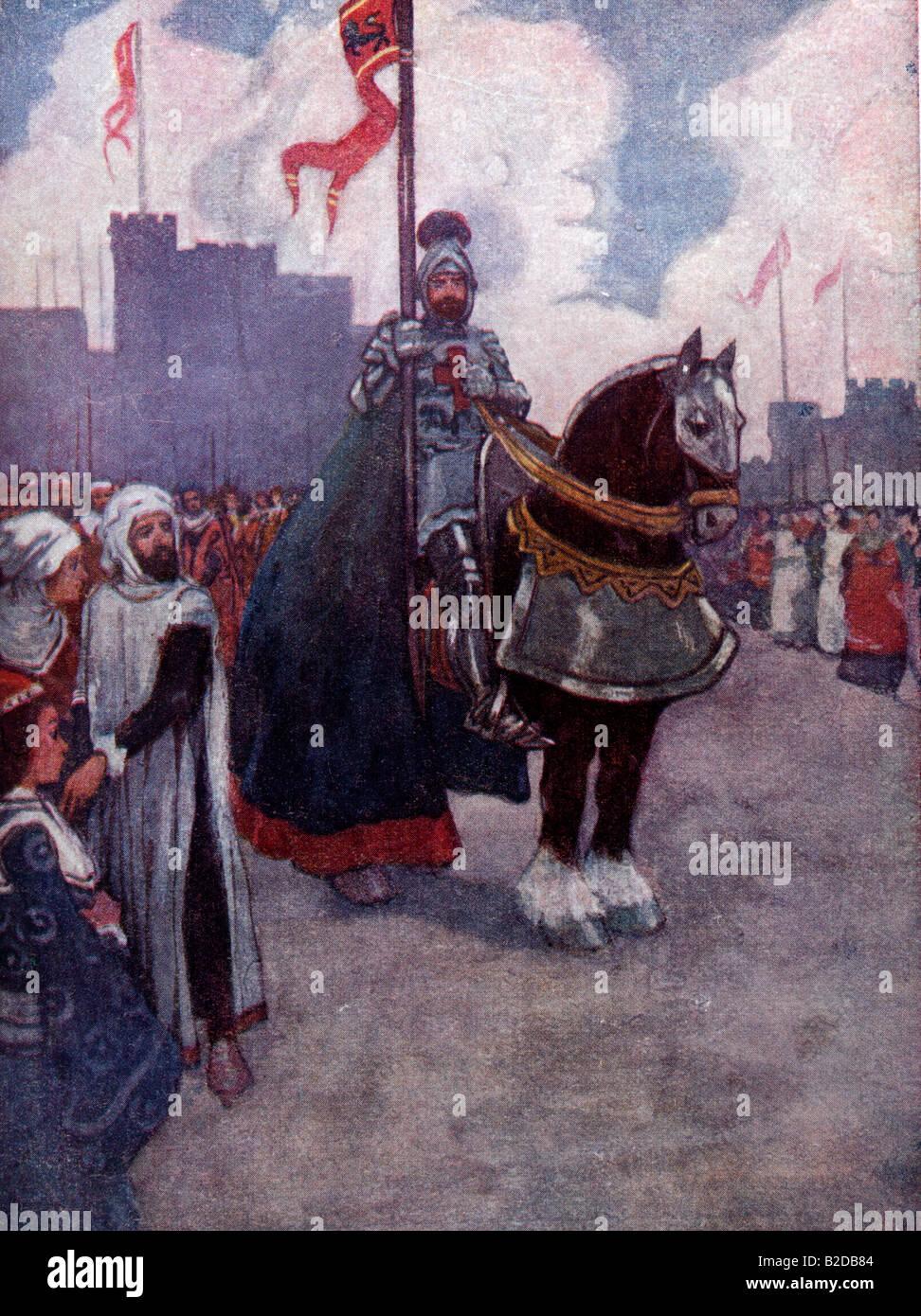 King Richard I on his way to Palastine - 3rd Crusade - Stock Image