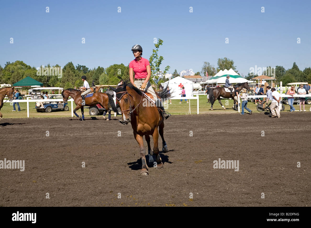 A rider in the practice ring at the High Desert Classic equestrian horse and riding show during July - Stock Image