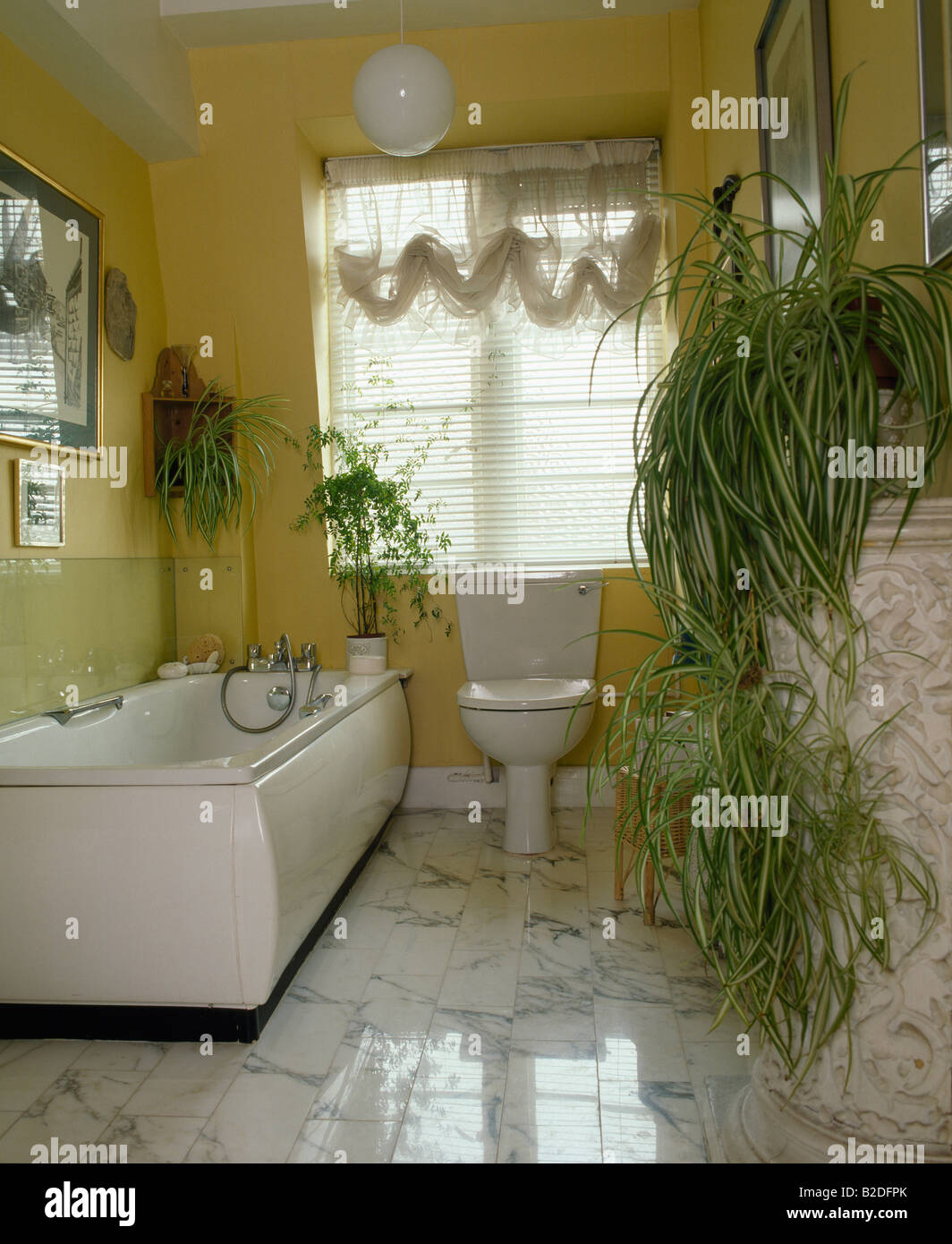 Spider plants in yellow bathroom with white plastic bath and marble