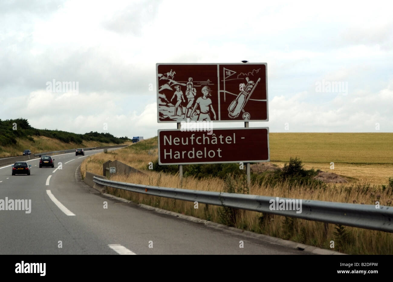 French motorway system tourist brown signpost direction signs at Neufchatel Hardelot northern France Europe Stock Photo