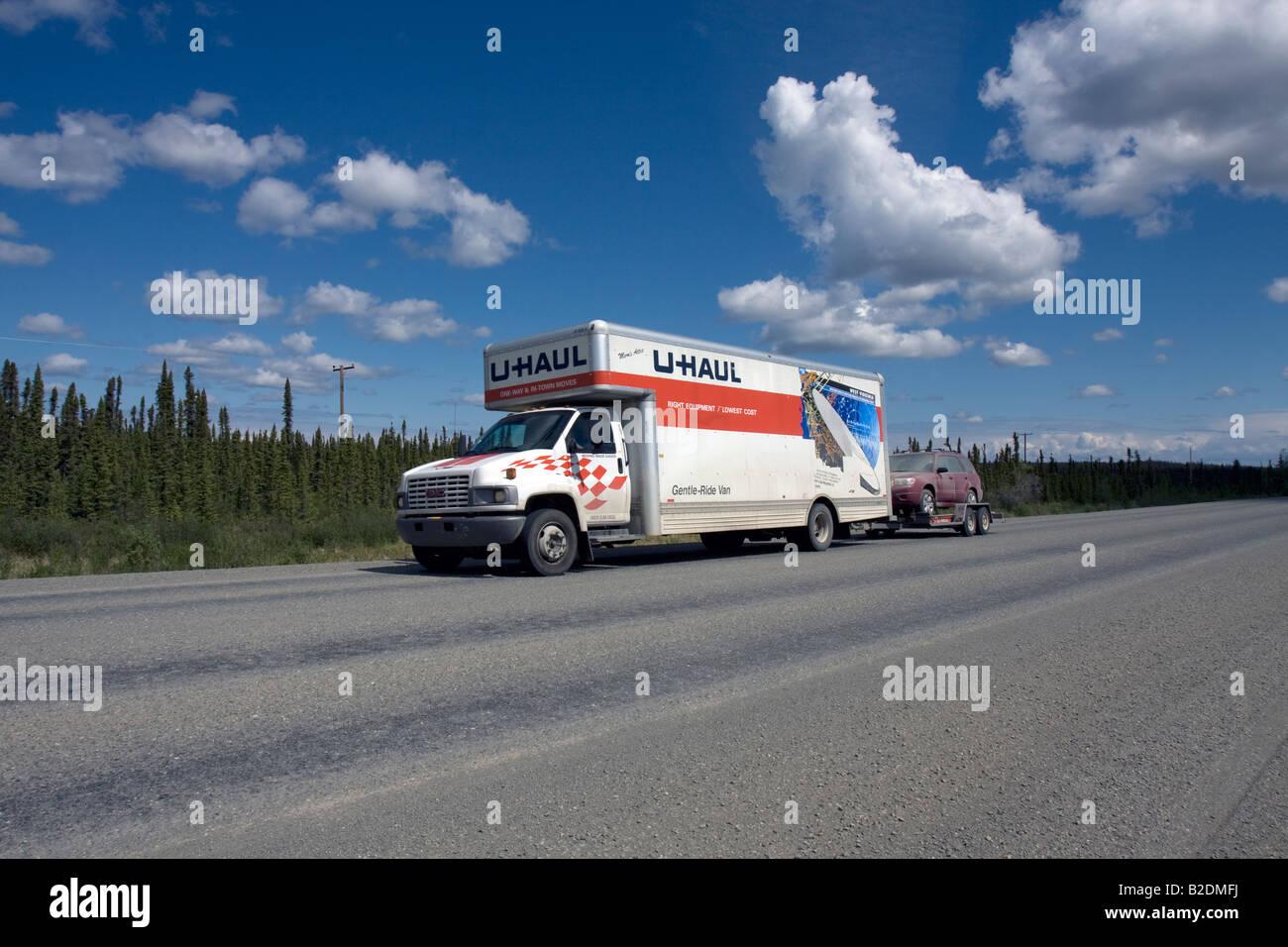 U-haul van on the move in Alaska, Northern America, United States of America Stock Photo