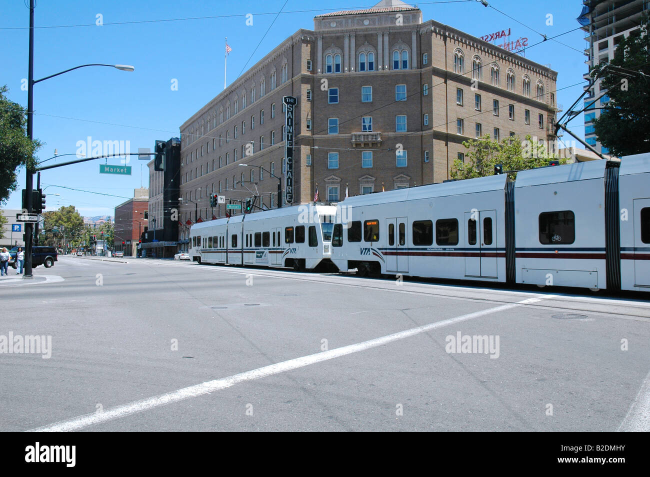 VTA {valley Transportation Authority} Lightrail Running Though Downtown San  Jose California By The Hotel Sainte Claire On Market