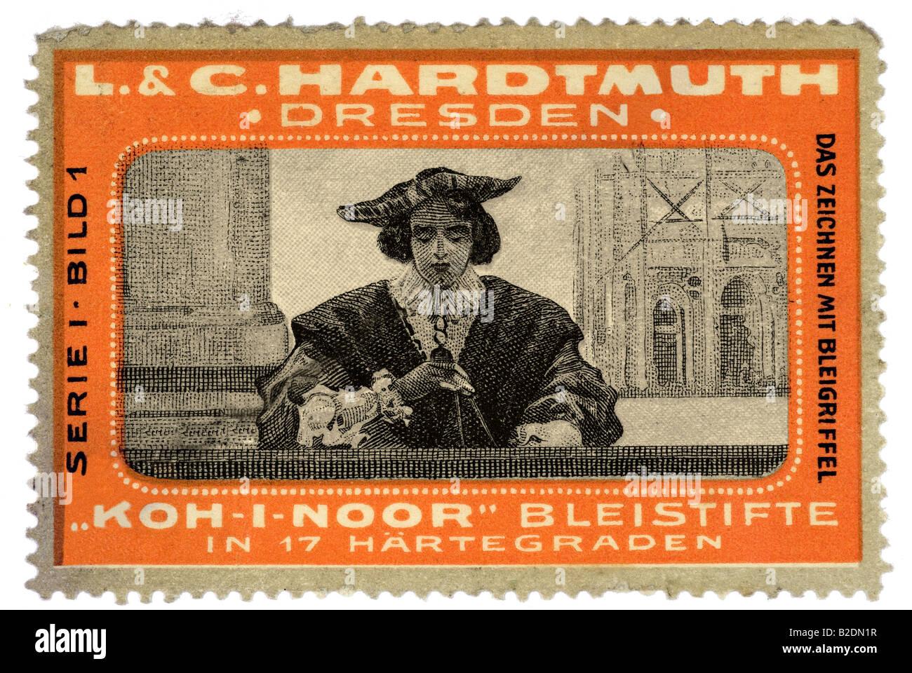 trading stamp L C Hardmuth Dresden Koh i Noor Bleistifte in 17 Härtegraden Serie 1 Bild 1 Das Zeichnen mit - Stock Image
