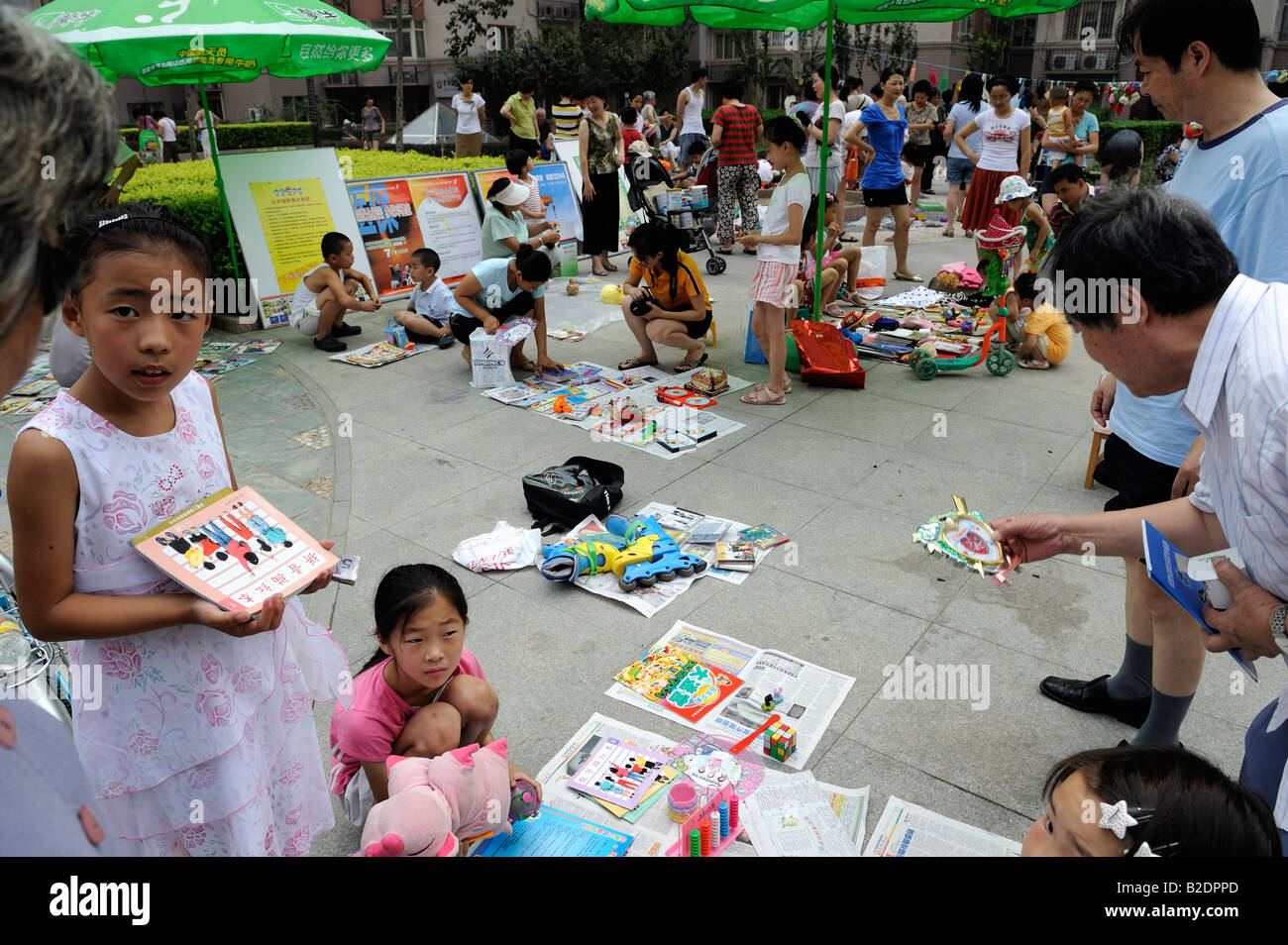 Flea market on Sunday in a community in Beijing, China. 26-Jul-2008 - Stock Image
