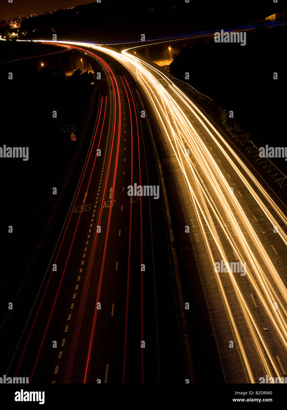 Traffic trails on the A27, Shoreham flyover, Sussex, England, UK Stock Photo