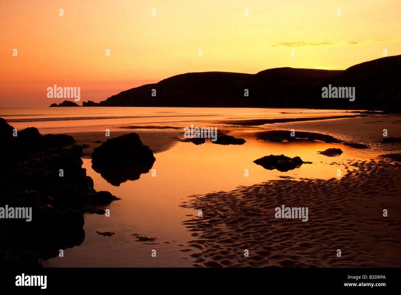 Sunset on Newgale Beach, Pembrokeshire, Wales, UK Stock Photo