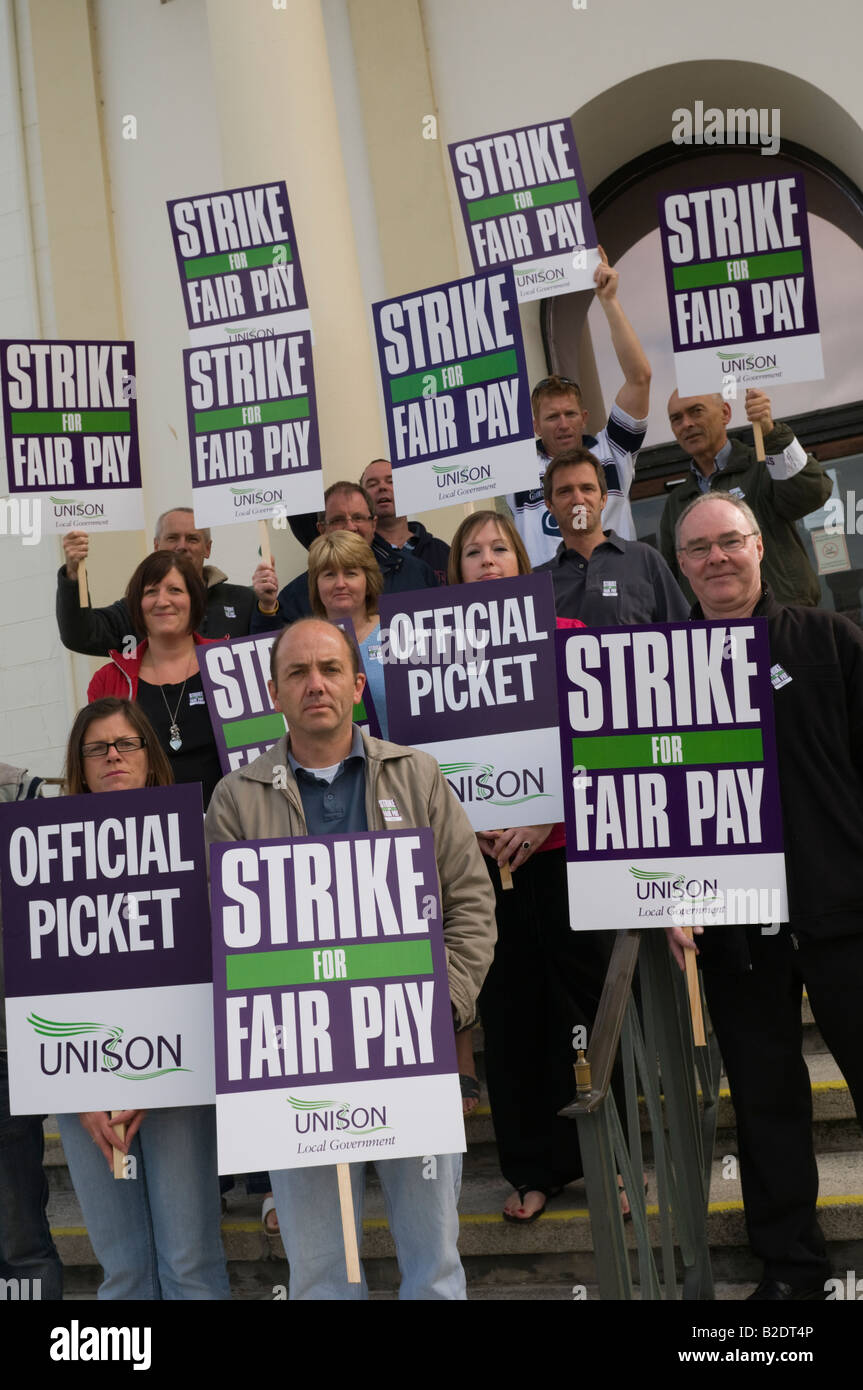 members of UNISON trade union on strike picketing local authority offices Aberystwyth July 2008 - Stock Image