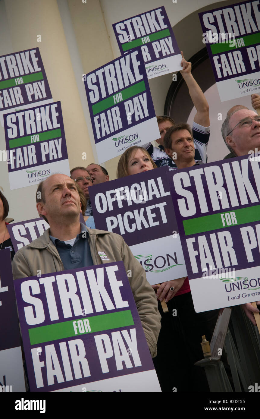 members of UNISON trade union on strike picketing local authority offices Aberystwyth July 2008, Wales UK - Stock Image