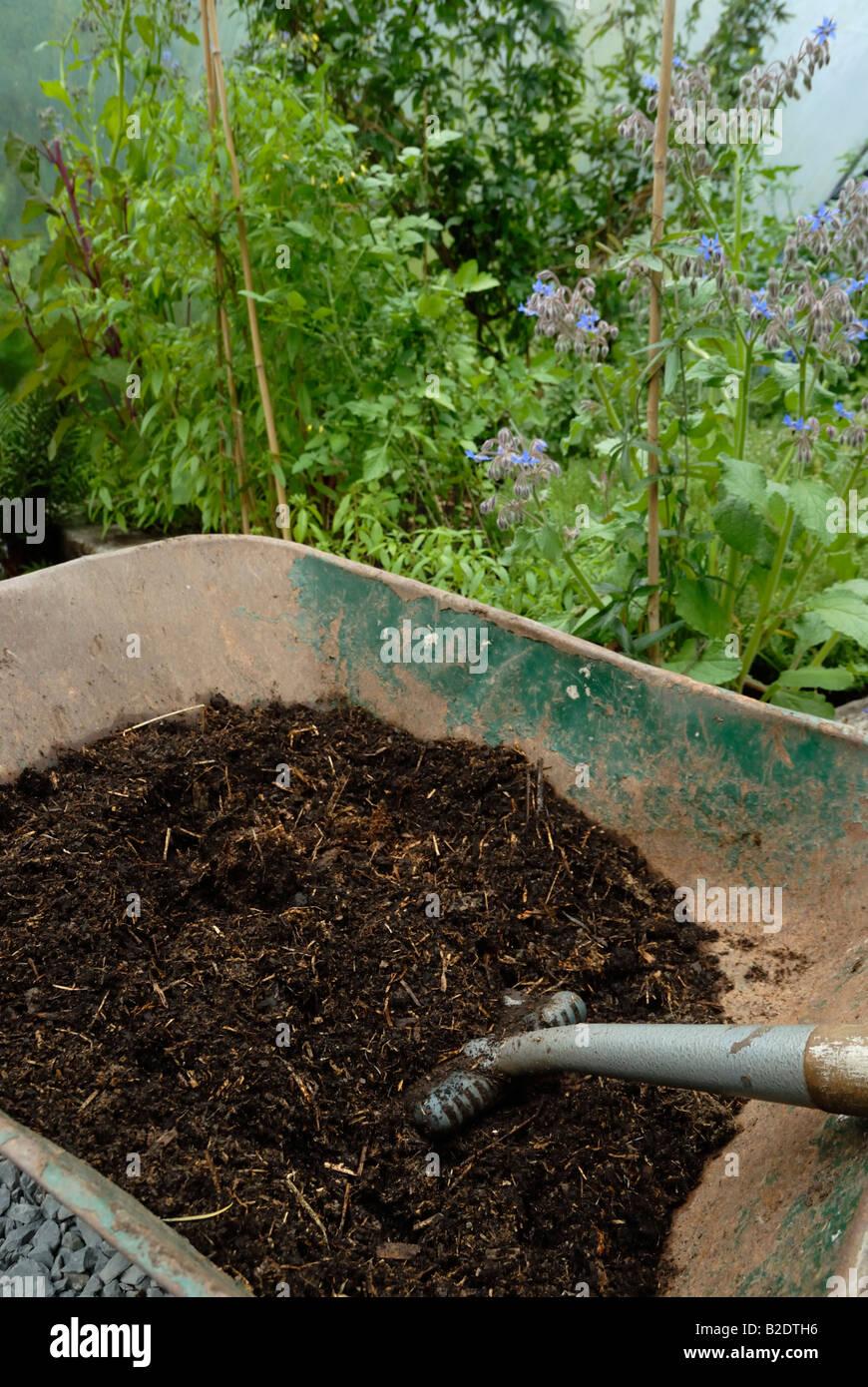 Homemade compost in a wheelbarrow