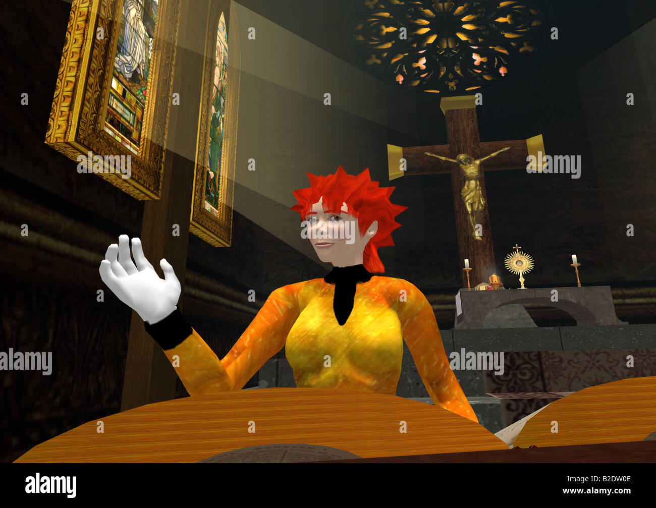 Second Life: A computer grab of a church from the virtual world Second Life - Stock Image
