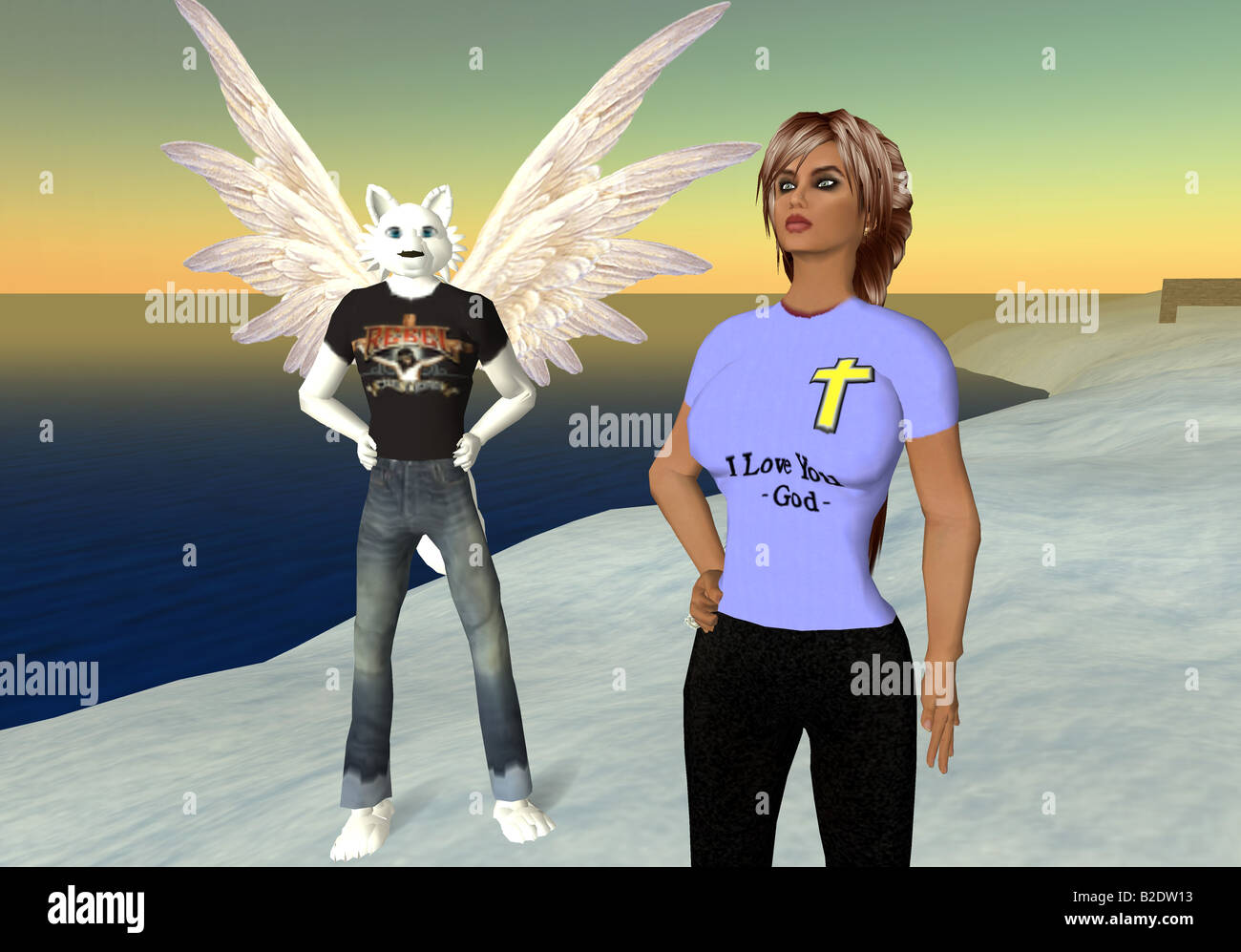 Second Life: A computer grab from the virtual world Second Life - Stock Image