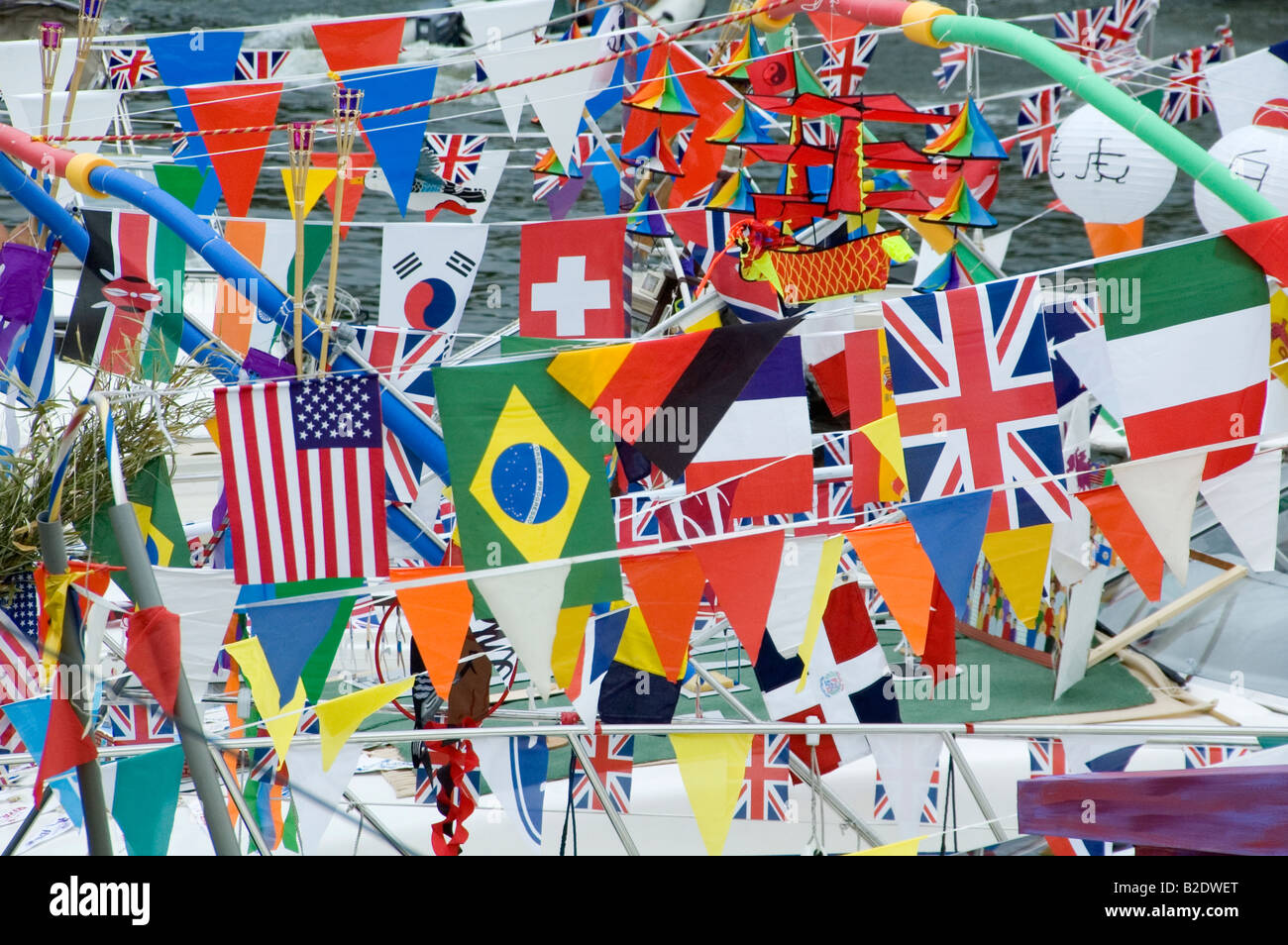 Flags and Pennants on boats at River Festival in Maidstone, Kent UK July 2008 - Stock Image