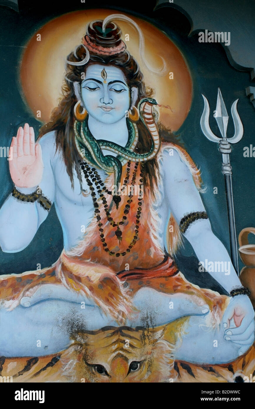 Temple Mural of the Hindu God Shiva, India - Stock Image