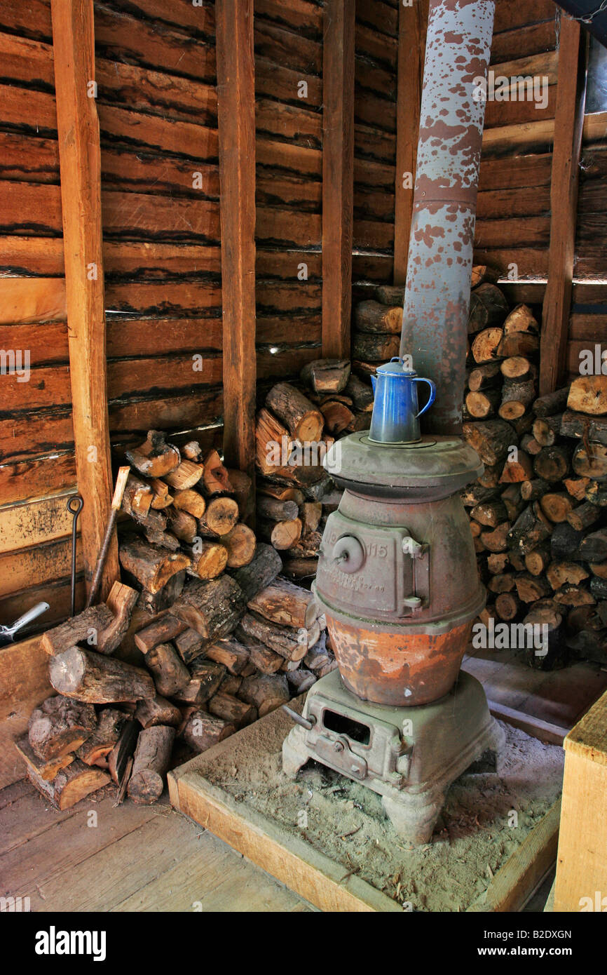 Wood stove at the Mingus Mill in the Great Smoky Mountains National Park in North Carolina - Stock Image