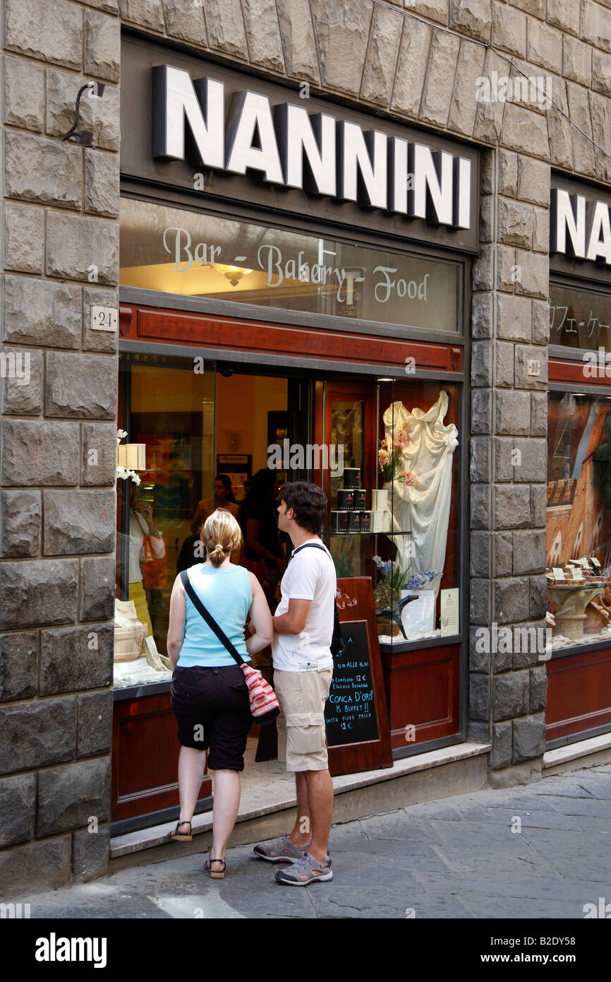 df185c6c11 exterior of nannini a renowned premier cafe and patisserie on via banchi di  sopra siena tuscany