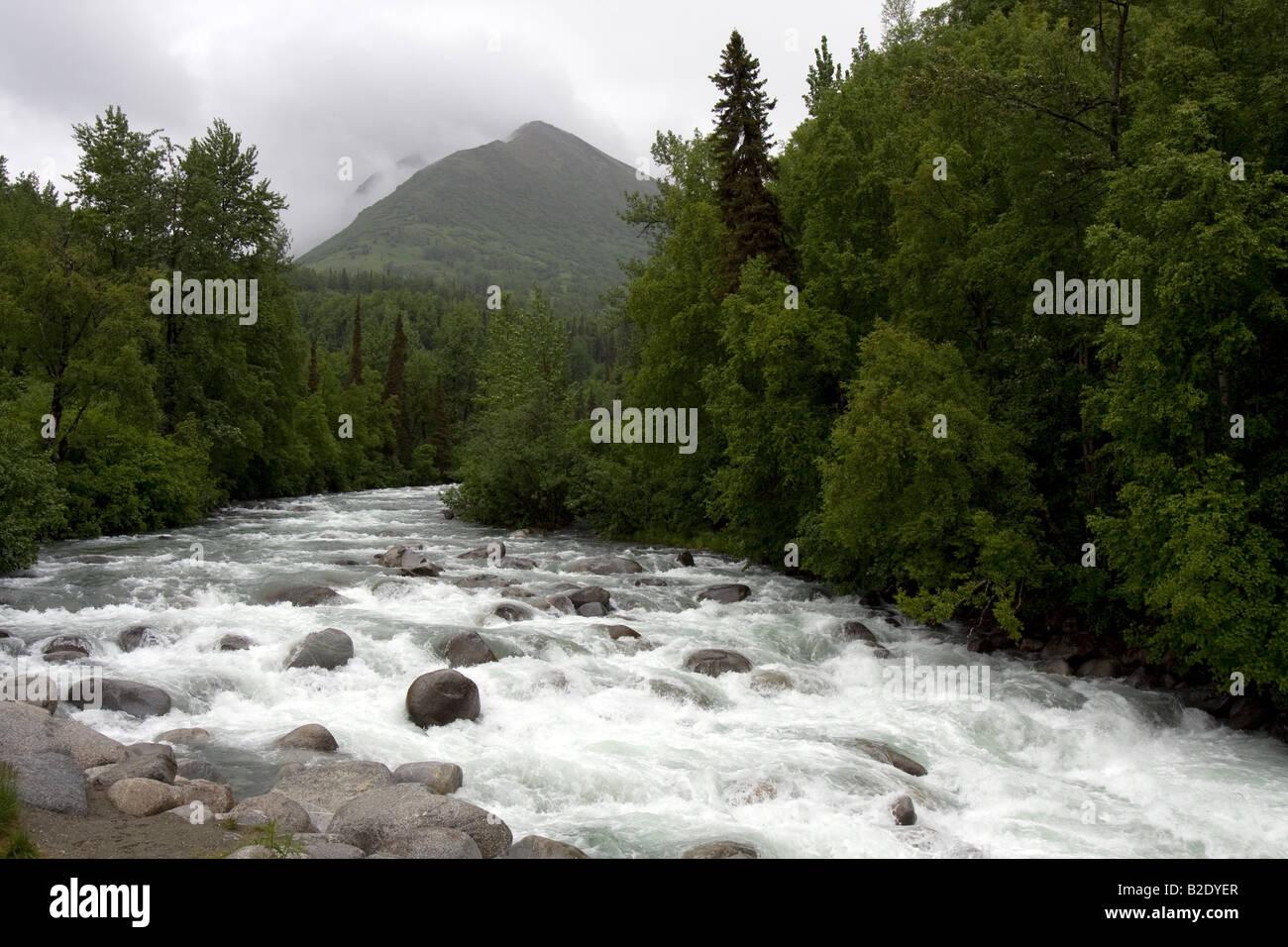 Wild running river, Hatcher Pass Road Alaska Stock Photo
