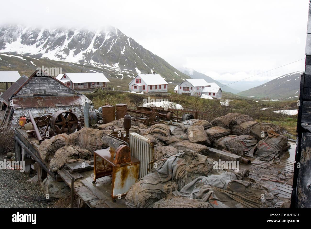 Abandoned Independence mine at Hatcher pass, Alaska, USA Stock Photo
