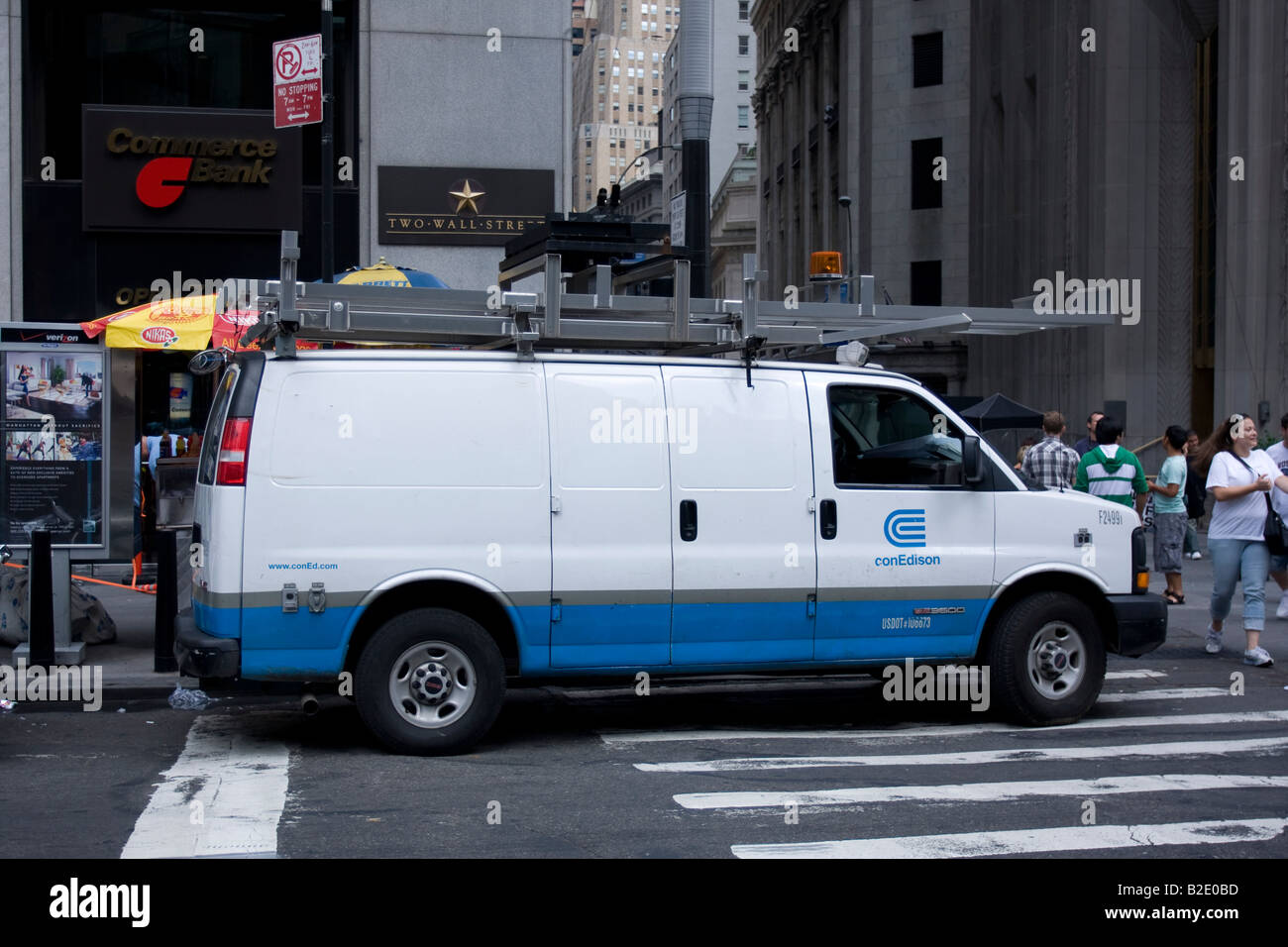 A Con Ed truck parked on Broadway in lower Manhattan, NY. - Stock Image