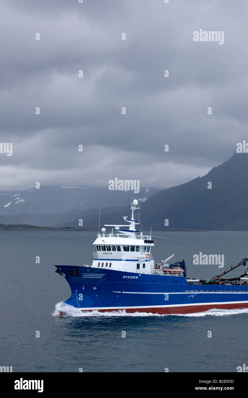 The DS Steigen on the stormy day on the Norwegian coast near the Artic Circle Stock Photo