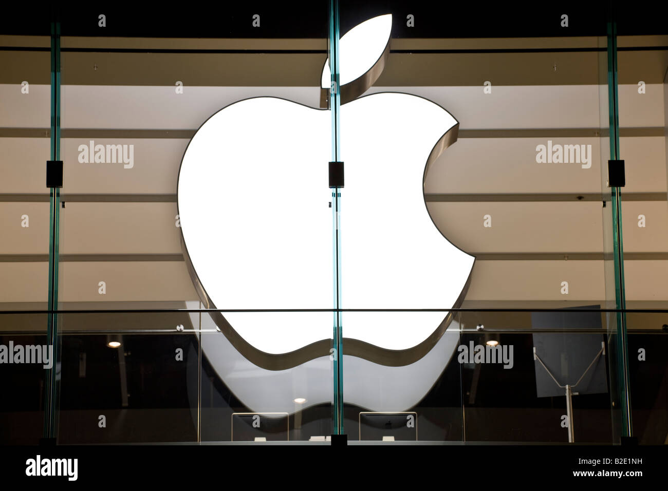 Apple inc. logo, Boston store, Massachusetts, USA - Stock Image