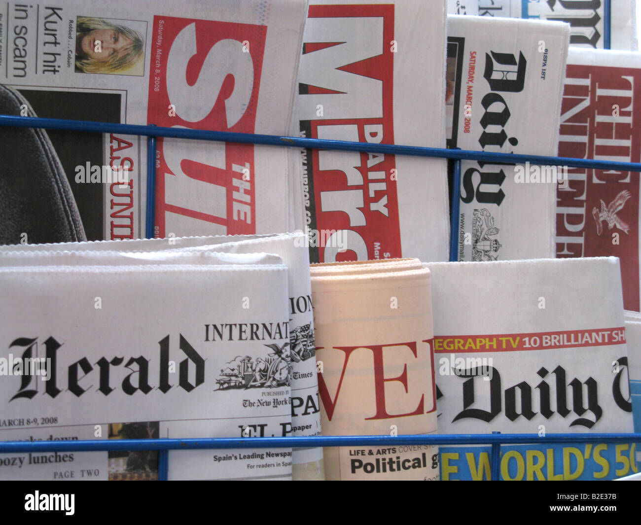 British Newspapers in a Shelve Stock Photo