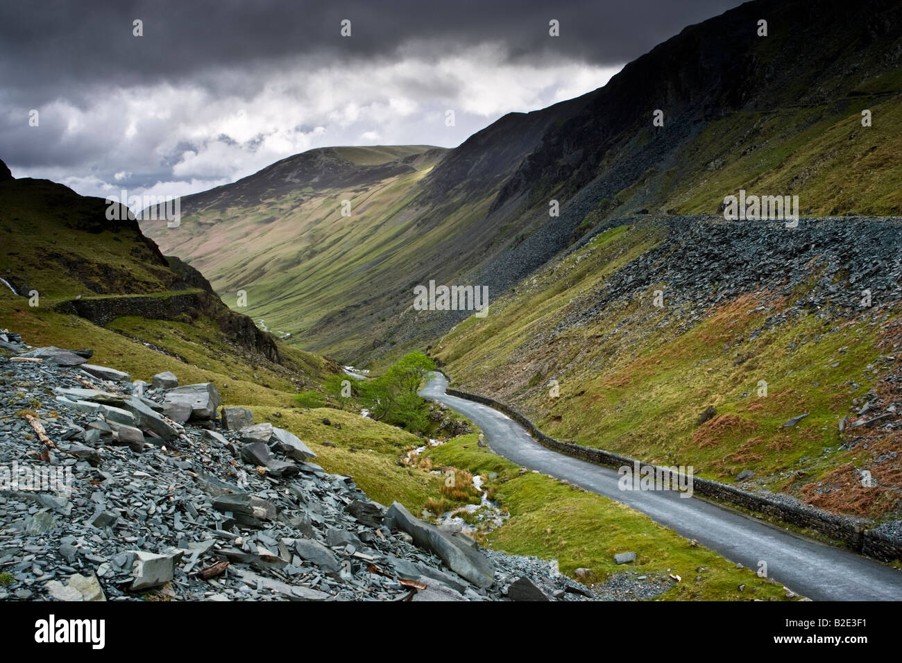 The B5289 road winding through Honister Pass in Borrowdale in the ...
