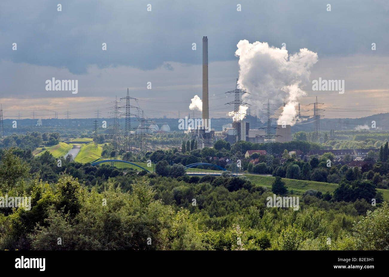 Emscher River waste water canal, Bostrop, Ruhr Valley, Germany. Garbage combustion power plant Essen-Karnap run - Stock Image