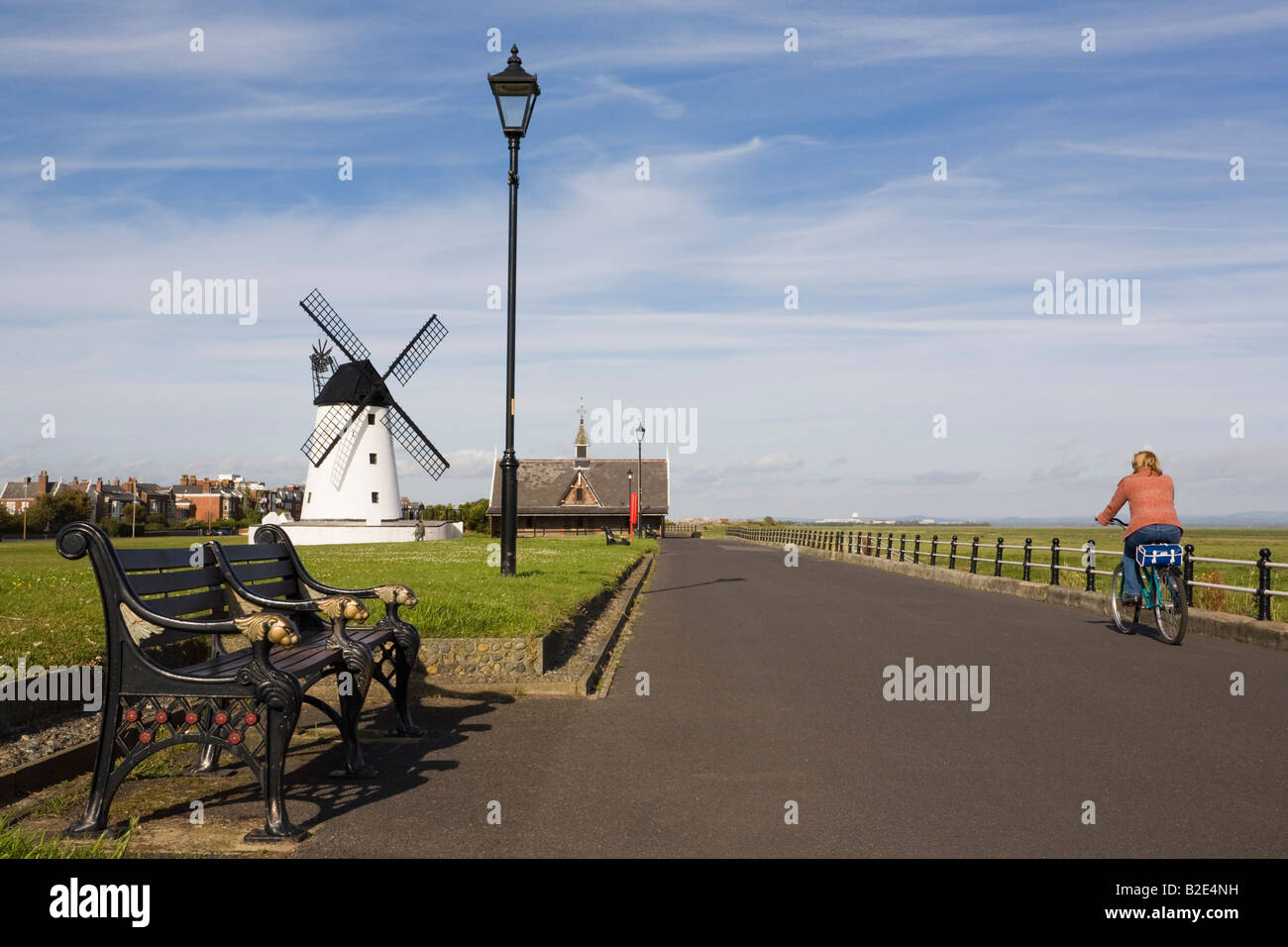 Lytham St Annes Lancashire England UK  Seafront promenade and green with restored 19th century windmill - Stock Image
