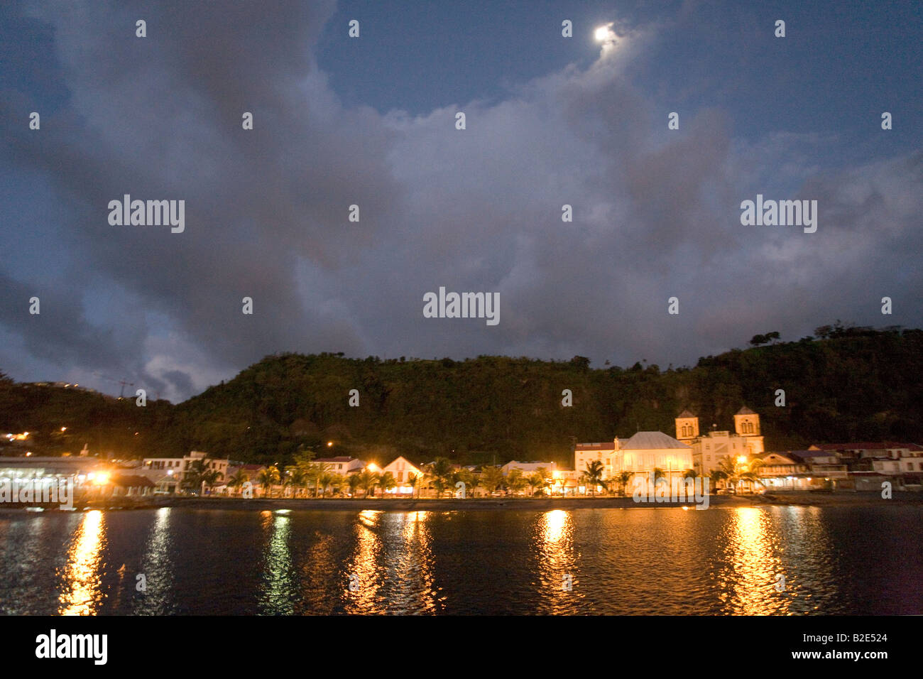 St Pierre Martinique West Indies at night under a full moon. Stock Photo
