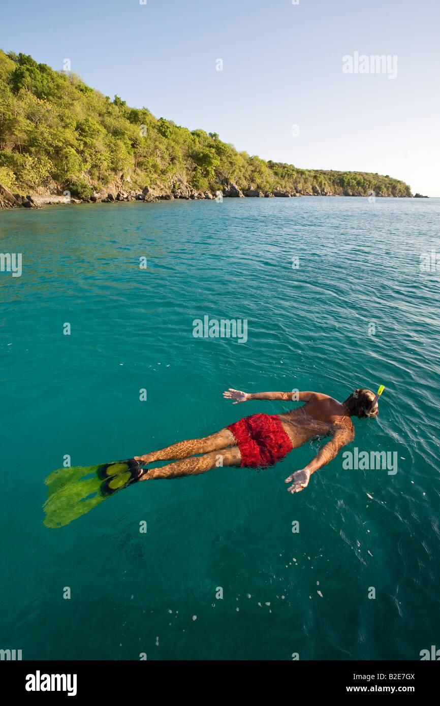 Snorkeling in Christmas Cove St Thomas US Virgin Islands - Stock Image