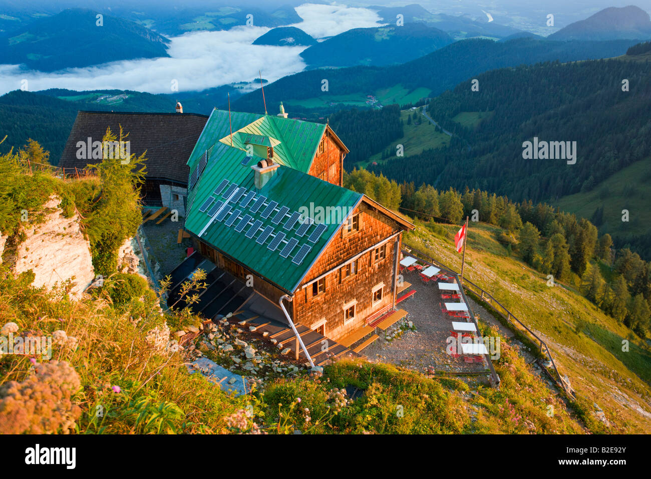 High angle view of hotel on mountain, Purtschellerhaus, Hoher Goell, Tennengau, Berchtesgaden Alps, Bavaria, Germany Stock Photo