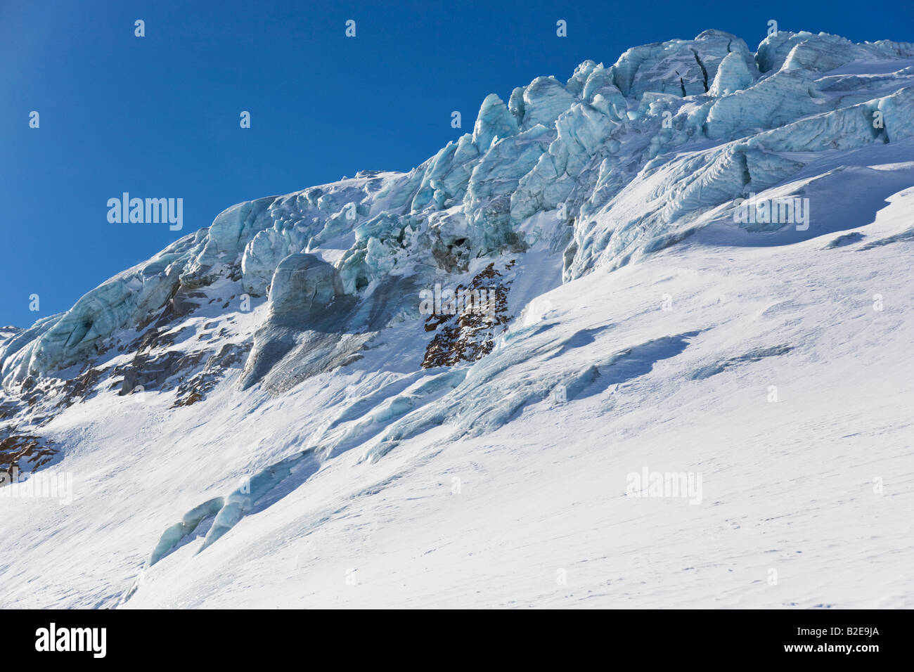 Snowcovered mountain under blue sky, Ochsentalergletscher, Silvretta, Vorarlberg, Austria - Stock Image