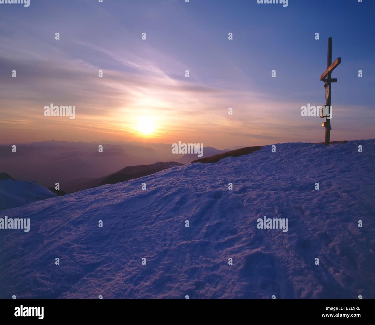 Salzburg on snowcovered mountain, Gamsfeld, Osterhorngruppe, Tennengau, Totes Gebirge, Salzburg, Austria Stock Photo