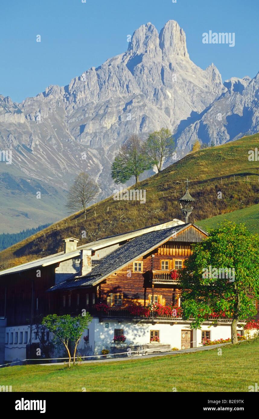 Facade of farmhouse, Dachsteingruppe, Filzmoos, Pongau, Salzburg, Austria Stock Photo