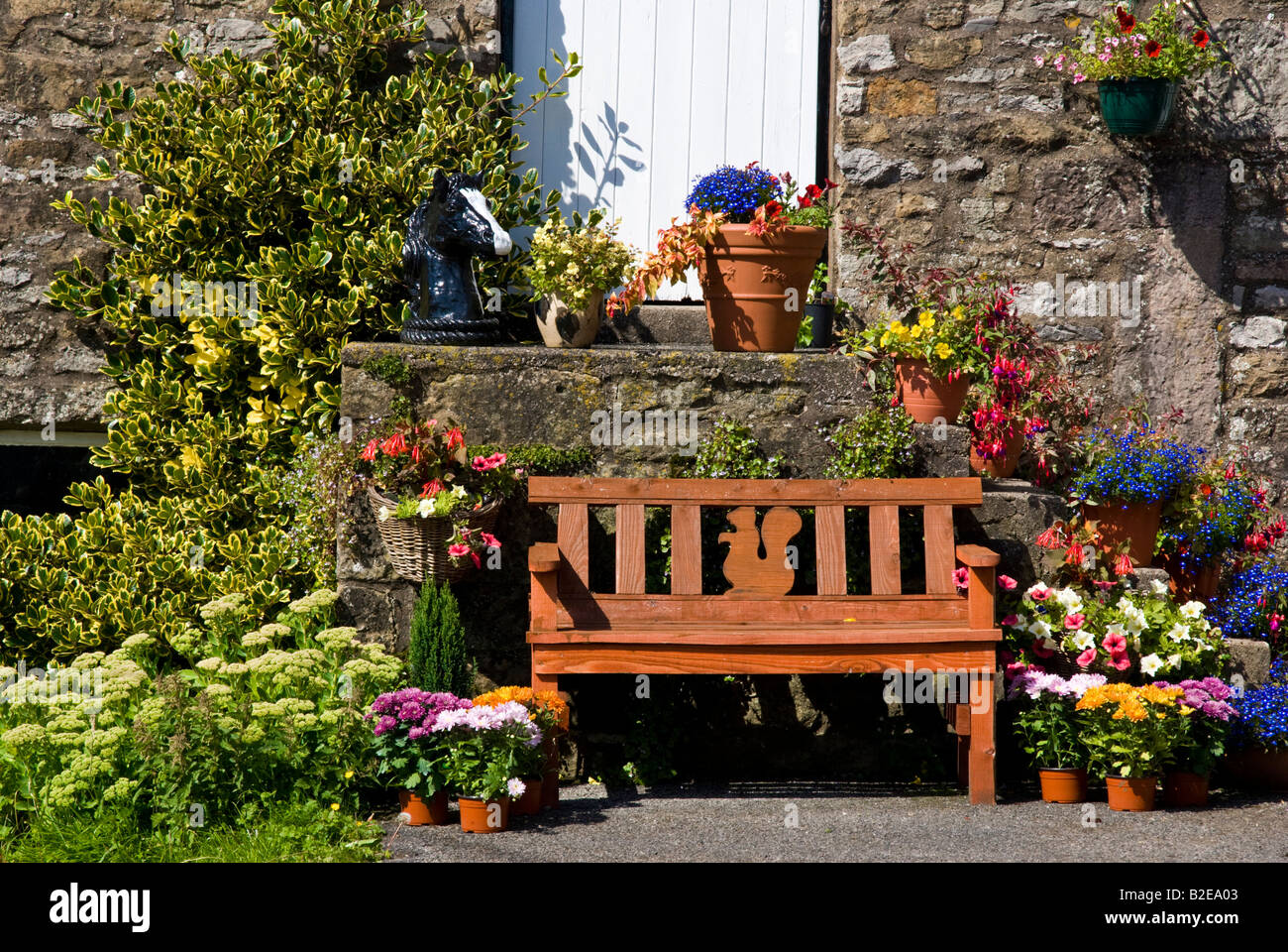 Empty bench surrounded with potted plants, Kirkby Lonsdale, Combria, England - Stock Image