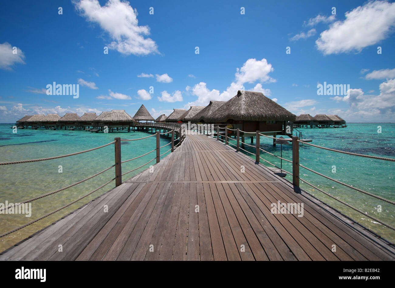 Shacks in shallow water, Manihi, Tuamotu Archipelago, French Polynesia, Polynesia, Pacific Island - Stock Image