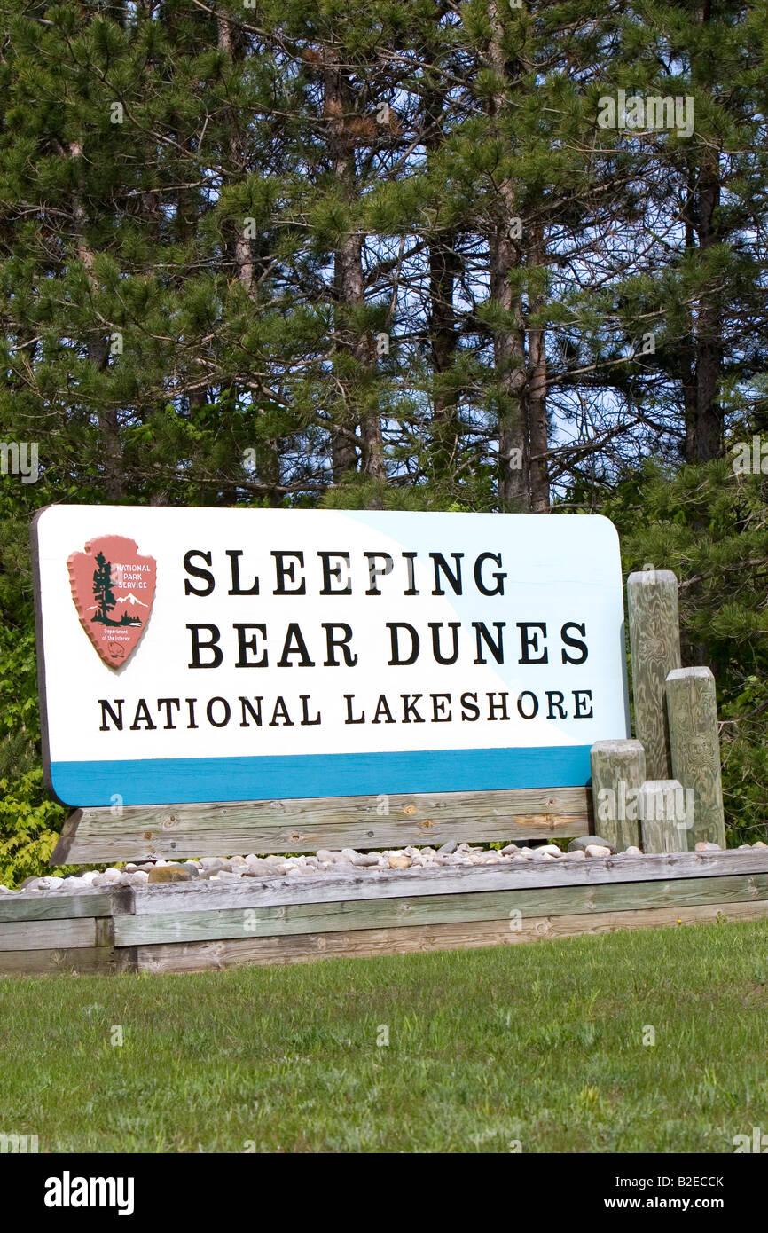 Sleeping Bear Dunes National Lakeshore located along the northwest coast of the Lower Peninsula of Michigan - Stock Image