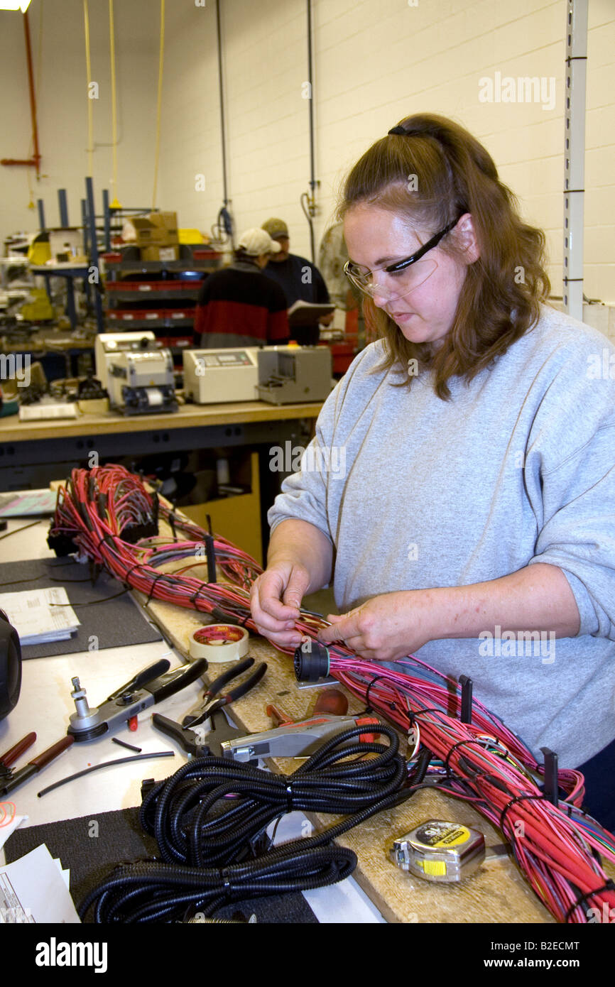 Wiring Harness Stock Photos Images Alamy For Old Trucks Female Worker With Assembly At Spartan Motors Truck Chassis Manufacturing In Charlotte Michigan