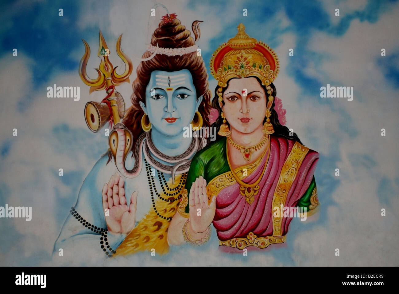 Mural of the Hindu God Shiva and his wife Parvarti , India - Stock Image