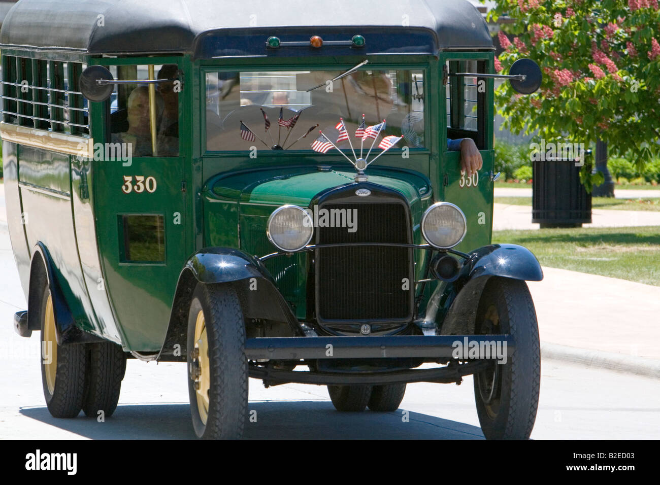 Ford 1932 model aa school bus used today as a taxi in greenfield village at the henry ford in dearborn michigan