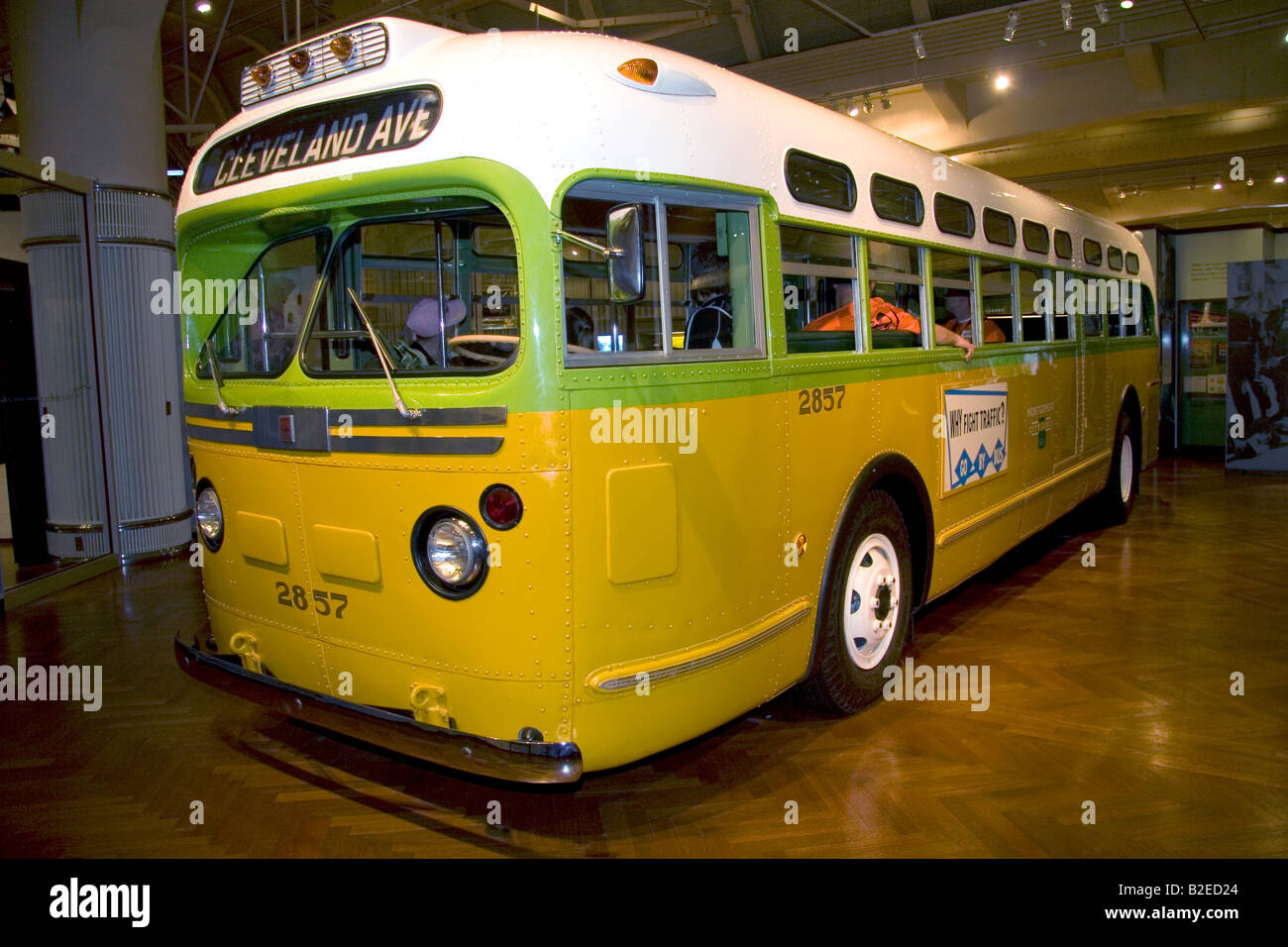 The Rosa Parks bus on display at The Henry Ford Museum in Dearborn Michigan - Stock Image