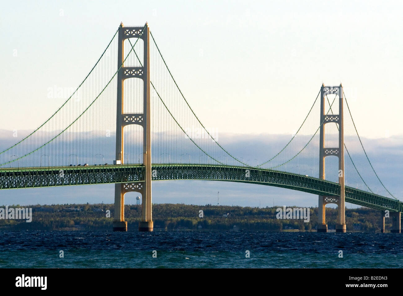 The Mackinac Bridge spanning the Straits of Mackinac at Mackinaw City Michigan - Stock Image