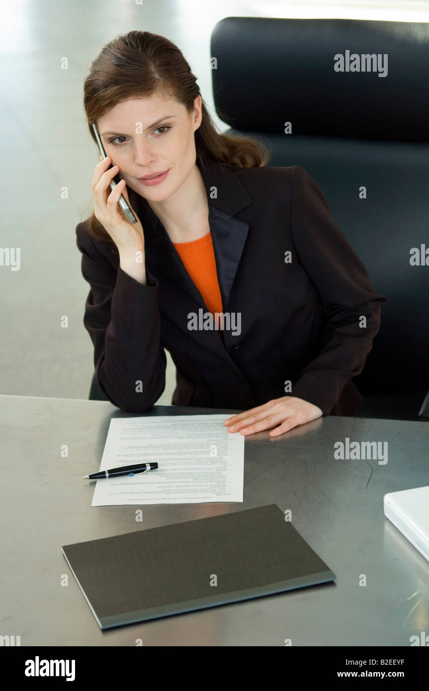 Businesswoman talking on a mobile phone in an office - Stock Image