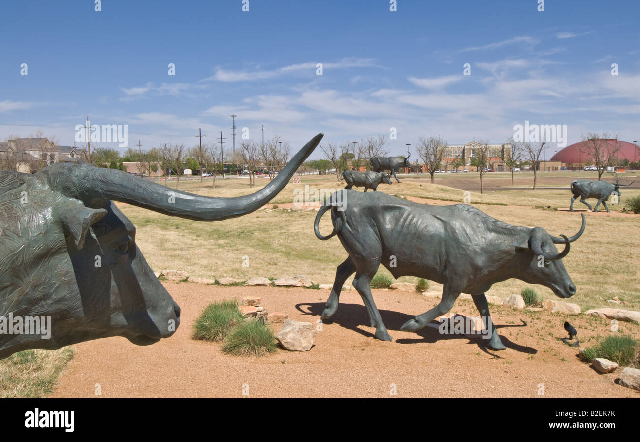 Texas Lubbock National Ranching Heritage Center Museum Bronze Steers sculpture Stock Photo
